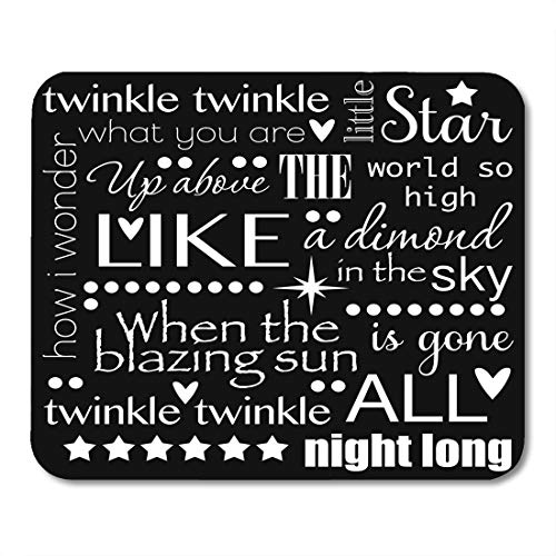 (Emvency Mouse Pads Baby Twinkle Little Star Nursery Rhyme Word Black and White Child Clipart Mousepad 9.5