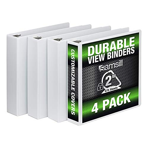 Samsill 3 Ring Durable View Binders - 4 Pack, 2 Inch Locking D-Ring, Non-Stick Customizable Clear View Cover 2' Slant D-ring Binder