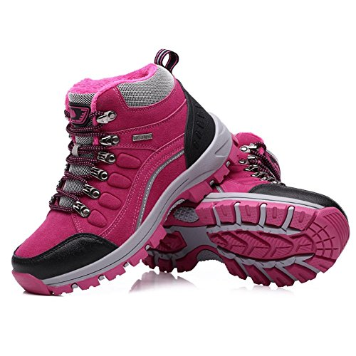 Mid Trekking Rosered Water Winter Outdoor Shoes Non top Unisex and Slip Shoes Climbing Warm and Hiking Suetar Durable Resistant Lining Y8H6wq
