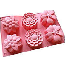 Allforhome 6 Cavities Flowers Silicone Cake Baking Mold Cake Pans Moulds Muffin Cups Handmade Soap Moulds Bareware Tray Soap DIY Mould Savon Moule Moule a Gateau