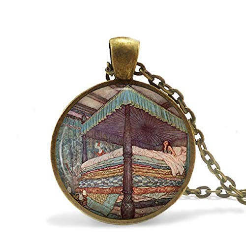 (The Princess and The Pea Necklace Pendant, Fairytale Storytale Childrens Book Jewellery for Her)