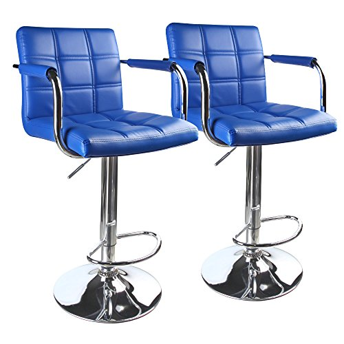 Leopard Leather Square Back Adjustable Bar Stools with armrest,Set of 2,Blue