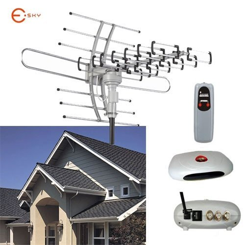 Esky HDTV Amplified Antenna 2 TV Support Outdoor TV Antenna 150 Mile Range Remote Controller