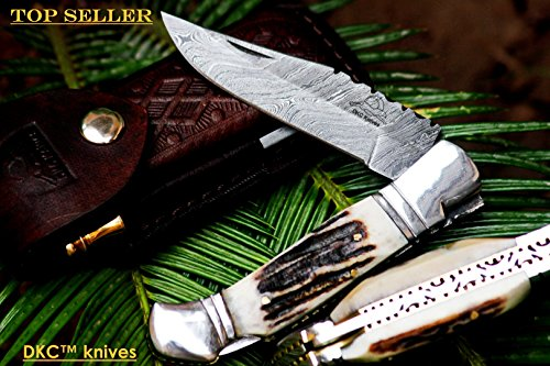++DKC-729 COYOTE Damascus Steel Folding Pocket Knife Custom Handmade Stag Horn 7.75 Long, 4.5 Folded 3 Blade 6.4oz DKC Knives Hand Made Incredible …