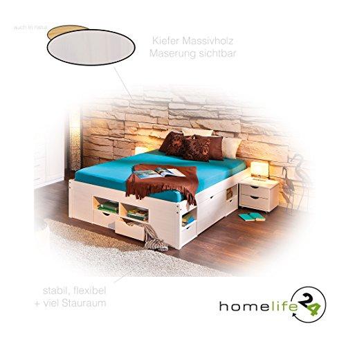 Bett 140x200 cm Doppelbett Stauraumbett Funktionsbett weiß Rost Kiefer massiv