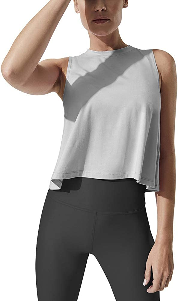 Mippo Women's Crop Tops High Neck Flowy Muscle Tank Sleeveless Workout Shirts at  Women's Clothing store