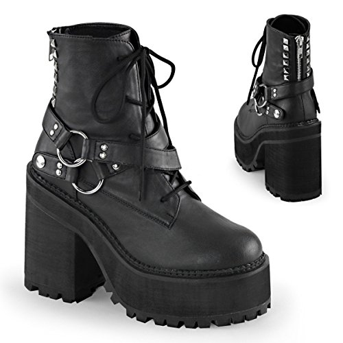 Womens Blk Vegan 101 ASSAULT Leather Demonia Boot pwEHRxIq