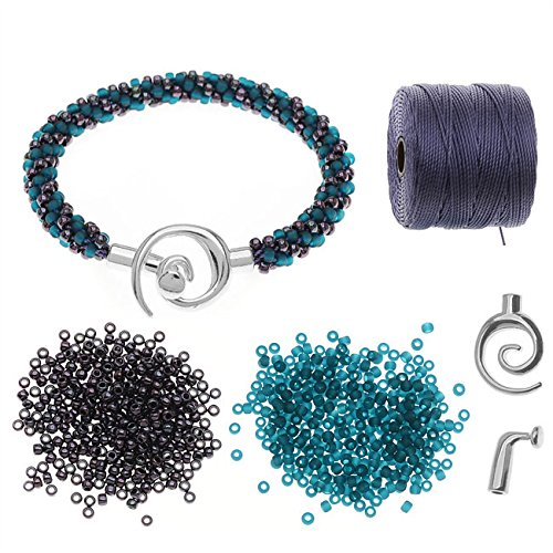 - Beadaholique Refill - Spiral Beaded Kumihimo Bracelet (Teal/Purp) - Exclusive Jewelry Kit