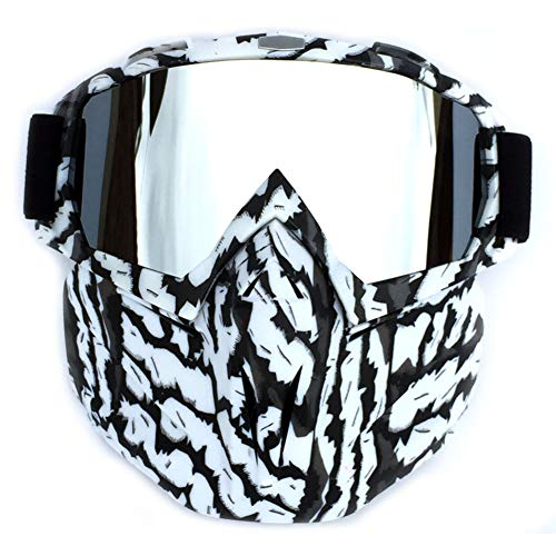XUBA Cool Outdoor Cycling Mask Goggles Motocross Ski Snowboard Snowmobile Face Mask Shield Glasses Eyewear Zebra Frame Mercury Color Lens