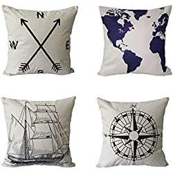 BPFY 4 Pack Home Decor Cotton Linen Nautical Style Sofa Throw Pillow Case Cushion Cover 18 x 18 Inch(Arrow,Map,Ship,Compass))