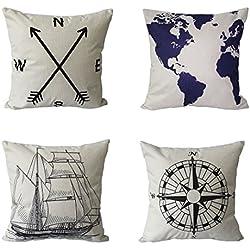 BPFY 4 Pack Home Decor Cotton Linen Nautical Style Sofa Throw Pillow Case Cushion Cover 18 x 18 Inch(Arrow,Map,Ship,Compass))