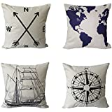 BPFY 4 Pack Home Decor Cotton Linen Nautical Style Sofa Throw Pillow Case Cushion Cover 18 x 18 Inch(Black Arrow,Blue Map,Black Ship,Black Compass))