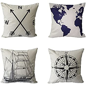 BPFY 4 Pack Home Decor Cotton Linen Nautical Style Sofa Throw Pillow Case Cushion Cover 18 x 18 Inch