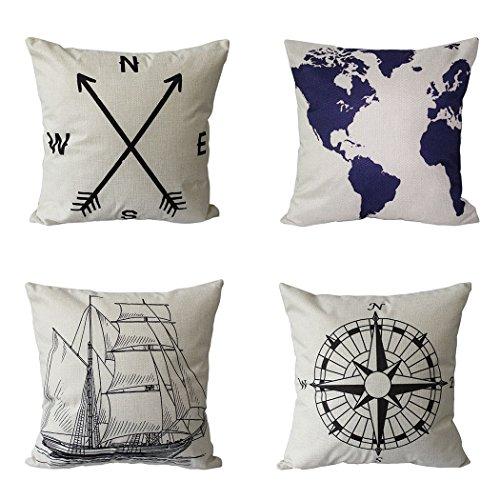 BPFY 4 Pack Home Decor Cotton Linen Nautical Style Sofa Thro