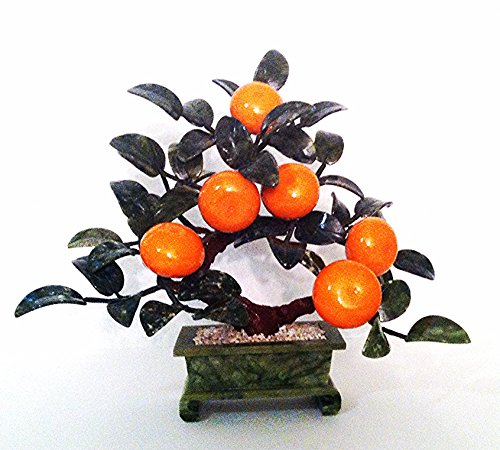 1 pc of Handcrafted Stonecarving Artificial Jade and Glass Orange Bonsai Tree