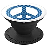Jewish Peace Sign Hanukkah Blue Star Of David White - PopSockets Grip and Stand for Phones and Tablets