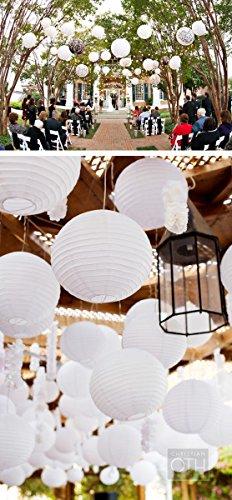 PaperLanternStore.com BULK CASE 12'' White Round Paper Lantern, Hanging Decorations, Even Ribbing, Hanging Decoration (100 Pack) by Quasimoon (Image #3)