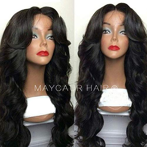 (Maycaur Body Wave Wig With Bangs 180 Density Long Wave Synthetic Lace Front Wigs For Women Black Color Hair 24 Inch)