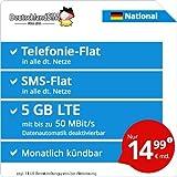 DeutschlandSIM LTE 4000 National [Sim, Micro-Sim und Nano-Sim] monatlich Kündbar (5 GB LTE mit Max. 50 Mbit/s inkl. deaktivierbarer Datenautomatik, Telefonie-Flat, SMS-Flat, 14,99 Euro/Monat)