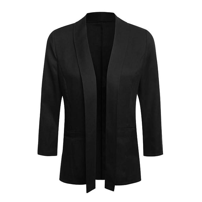 Amazon.com: Chaqueta para mujer Bodycon Mini 3/4 Sleeve Open ...
