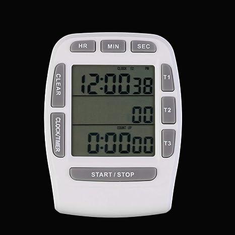 Formulaone 1 Unidades Triple Reloj Timer Cocina Cocinar 3 Líneas de Alarma LCD Conteo Digital Abajo