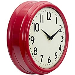 45Min 9.5 Inch Spherical Glass Round Classic Clock, Silent Non-Ticking Retro Quartz Decorative Wall Clock White/Black/Red (Red)