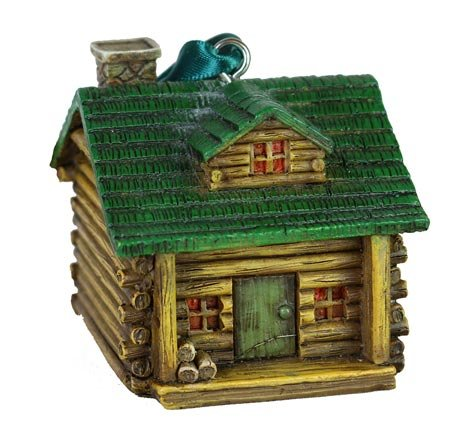 Log Plaques Cabin - Rustic Axentz Log Cabin Camping Figure Collectible Ornament, 2.5