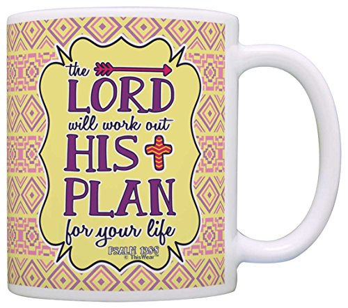 Bible Verse Gifts Lord Will Work Out His Plan Inspirational Gift Coffee Mug Tea Cup Aztec Pattern