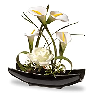 National Tree 11 Inch White Rose and Tulip Flowers with Black Oriental Style Ceramic Base (NF36-5260-1) 16