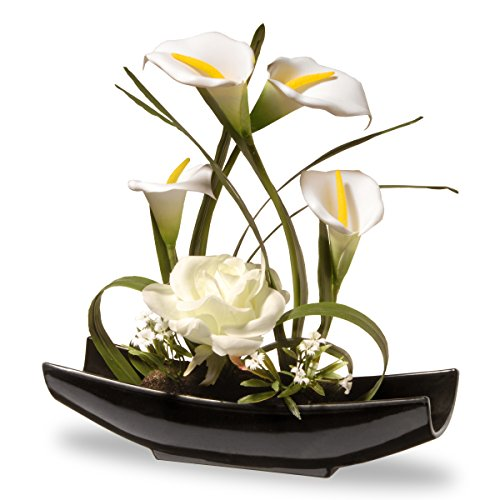 National Tree 11 Inch White Rose and Tulip Flowers with Black Oriental Style Ceramic Base (NF36-5260-1) ()