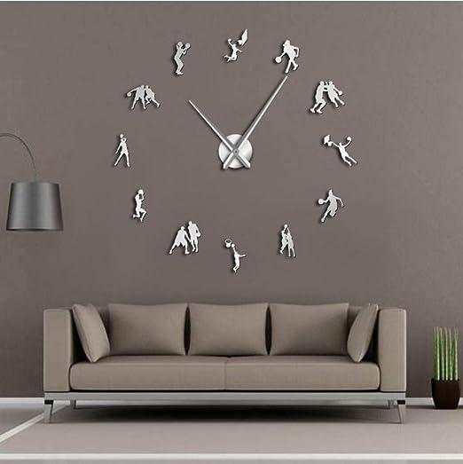 Makeyong Jugadores De Baloncesto 3D DIY Gigante Silencioso Reloj ...