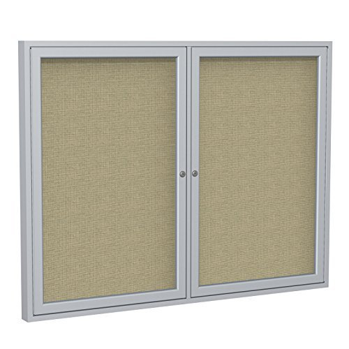 Ghent 36 x 48 2-Door Satin Aluminum Frame Enclosed Fabric Bulletin Board, Beige (PA23648F-90) by Ghent
