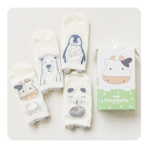 Huluwa Baby Socks 4 Pack Unisex Newborn Cartoon Soft Cotton Socks, Breathable and Anti-Skid (1-3 Years (Sock Length: 5.5