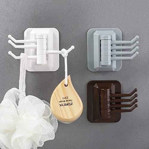 IEasⓄn Home Kitchen, 4- Link Hook in Rotary Kitchen Bathroom Wall Rack Towel Rack IE-NN20 (Coffee) by IEasⓄn (Image #1)