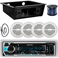 Kenwood MP3 Bluetooth Stereo Receiver Bundle Combo w/ Universal Underdash Kit, 4x 5 White Outdoor Speakers, Enrock Radio Antenna, 50t Speaker Wire - Golf Car RV Entertainment System