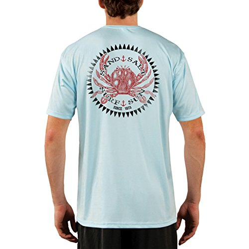 SAND.SALT.SURF.SUN. Vintage Crab Men's UPF 50+ Short Sleeve T-Shirt X-Large Arctic Blue ()