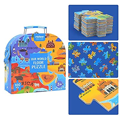 rowna Children's World Puzzle Interactive Talking World Map for Kids 100PCS Learn and Discover About Our World Ideal Interactive Learning Toy Gift for Boys & Girls Aged 5, 6, 7, 8, 9, 10 Improved : Baby