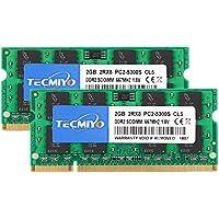 TECMIYO 4GB Kit (2x2GB) DDR2 667MHz PC2-5300 PC2-5300S Non ECC Unbuffered 1.8V CL5 2RX8 Dual Rank 200 Pin SODIMM Laptop…