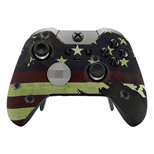 eXtremeRate US Flag The Stars & Stripes Patterned Faceplate Front Housing Shell with Soft Touch Grip for Microsoft Xbox One Elite Controller with Thumbstick Accent Rings (Face Faceplate Happy)