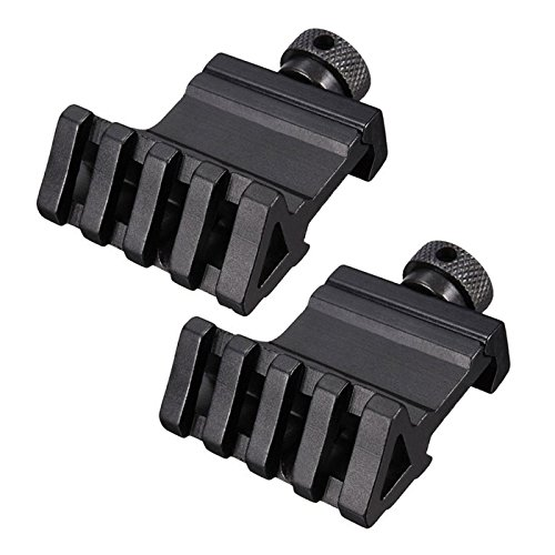 HooGou 2 Pcs 45 Degree 20mm 4 Slots Offset Angle Rail Mount Picatinny Weaver Style for Mounting Flashlight Sight Black 2 Pack