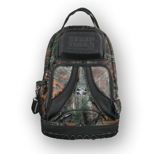 Backpack, Electrician Tool Bag, Camo Tradesman Pro Organizer, 39 Pockets, Molded Base Klein Tools 55421BP14CAMO