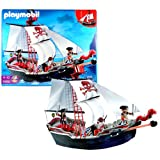 Playmobil Year 2010 Pirates Series Vehicle Set #5950 - SKULL and BONE PIRATE SHIP with 3 Pirates Figure, Treasure-Filled Chest, Working Cannons, 3 Swords, Dagger, Flintlock Pistol and 2 Cannon Missiles