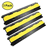 Reliancer 3 Pack Dual Channel Rubber Cable Protector Ramp 2 Channel Traffic Speed Bump 11000lbs Capacity Heavy Duty Hose Cable Track Protector Protective Cover Wires Concealer w/Flip-Open Top Cover