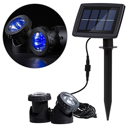 (Solar Power 12 LEDs Landscape Spotlight Projection Light with 2 Submersible Lamps for Garden Pool Pond Outdoor Decoration & Lighting Underwater Light, Blue)