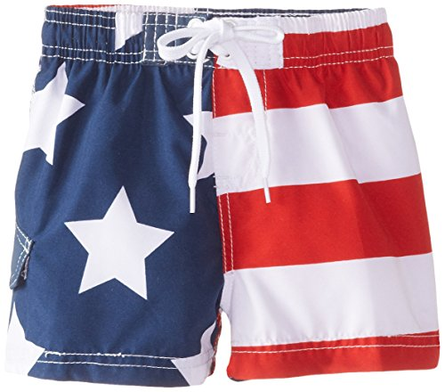 Kanu Surf Baby Boys' American Flag Swim Trunks, Flag, 18 (Poly Extra American Flag)