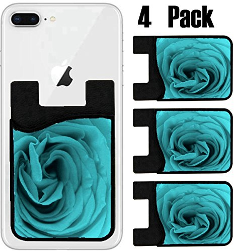 (MSD Phone Card holder, sleeve/wallet for iPhone Samsung Android and all smartphones with removable microfiber screen cleaner Silicone card Caddy(4 Pack) Nice decorative cover IMAGE 35115556)
