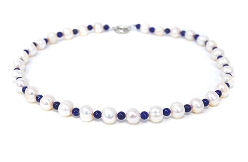 430904177839 Precioso collar de perlas de agua dulce perlas y piedras preciosas  lapislázuli  Amazon.es  Joyería