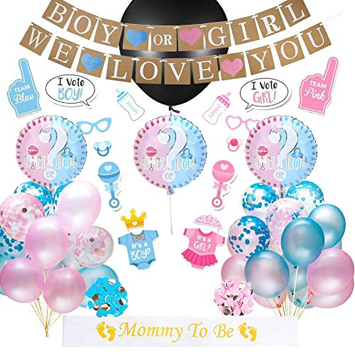 Gender Reveal Party Supplies | Baby Shower Boy or Girl Kit (67 Pieces) - Including 36