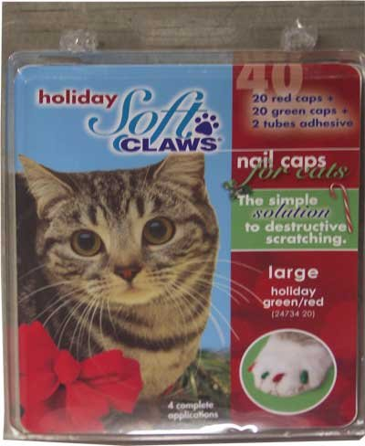 Soft Claws for Cats, Size Large, Color Holiday (Red and Green), My Pet Supplies
