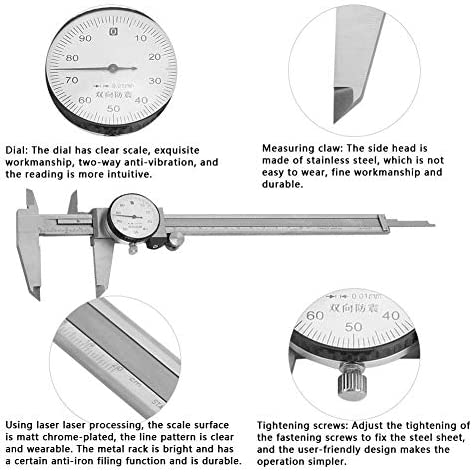 HYY-YY Dial Caliper, 0-200mm Vernier Calipers Water and Oil Proof Caliper Stainless Steel Double Anti-shock for Measure Outer Diameter,Inner Diameter,Hole Depth,Step Size